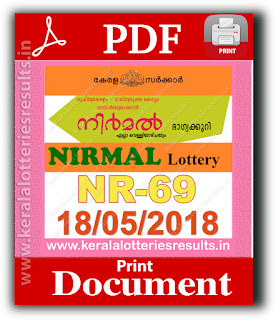 Kerala Lottery 18.05.2018 Nirmal NR-69 Lottery Results Official PDF keralalotteriesresults.in