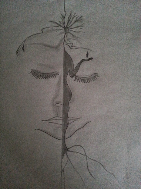 Pencil Drawing Nature Women Abuse Beautiful