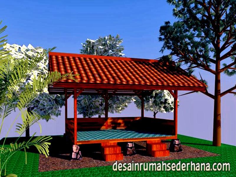 Gambar Desain Saung Kayu Mungil Untuk Kebun dan Taman