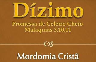 MORDOMIA CRISTÃ - A MORDOMIA DO DIZIMO