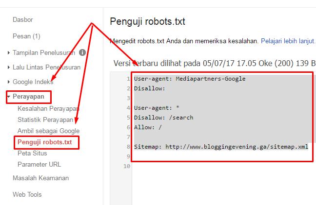 #6 - Cara memasang kode robot sitemap dari webmaster google ke blogger