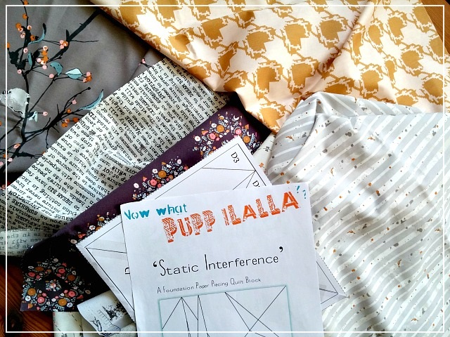 Blithe Blog Hop, Puppilalla, Katarina Roccella, paper piecing, static interference quilt block, paper piecing