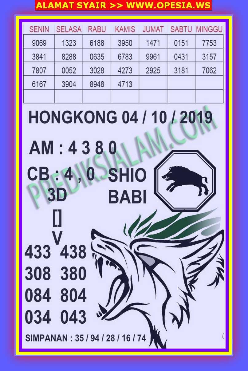 Kode syair Hongkong Jumat 4 Oktober 2019 119