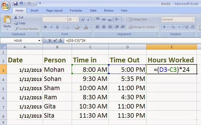 2 Ways to Calculate Hours Worked in Accounting Accounting Education - ms excel for accounting