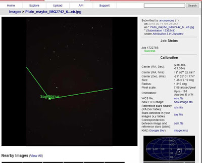 Astrometry confirms that Pluto's current location is near the image center