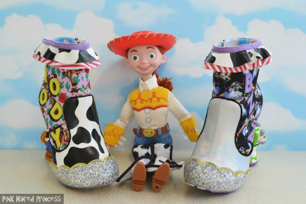 cow print ankle boot next to Jessie large doll with silver ankle boot from Toy Story