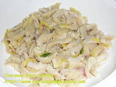 Kinilaw na Liblibro (Oxtripe Salad)