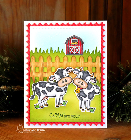 Cow Card by Larissa Heskett | Moo Stamp Set, Land Borders Die Set, Fence Die, and Framework Die Set by Newton's Nook Designs #newtonsnook #handmade