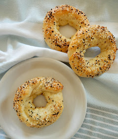 2 Ingredient Everything Bagels...just Greek yogurt and flour make these bagels!  Plus a few extras.  Soft, chewy and most of all, EASY! (sweetandsavoryfood.com)