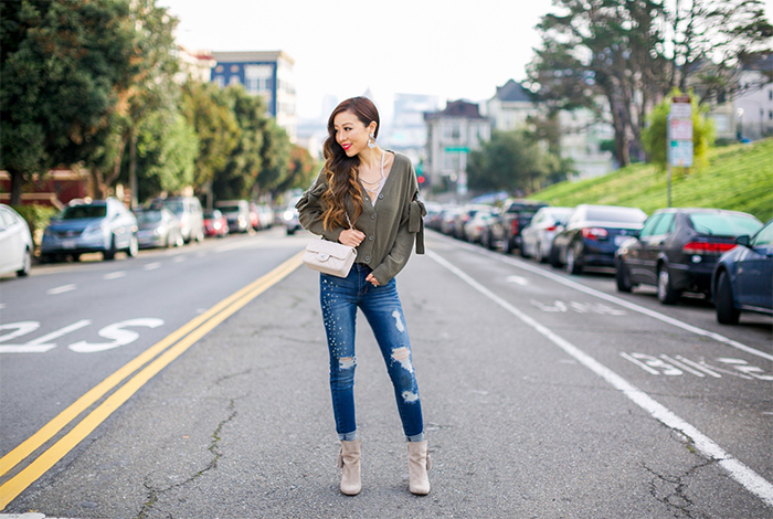 bow knot cardigan, lace up cami, ripped jeans, tassel ankle booties, chanel mini flap, san francisco fashion blog, san francisco street style, holiday outfit ideas