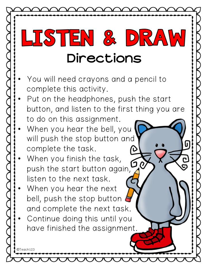 Listening Skills: Listen & Draw, E S L , Sub Plans, Inside Recess