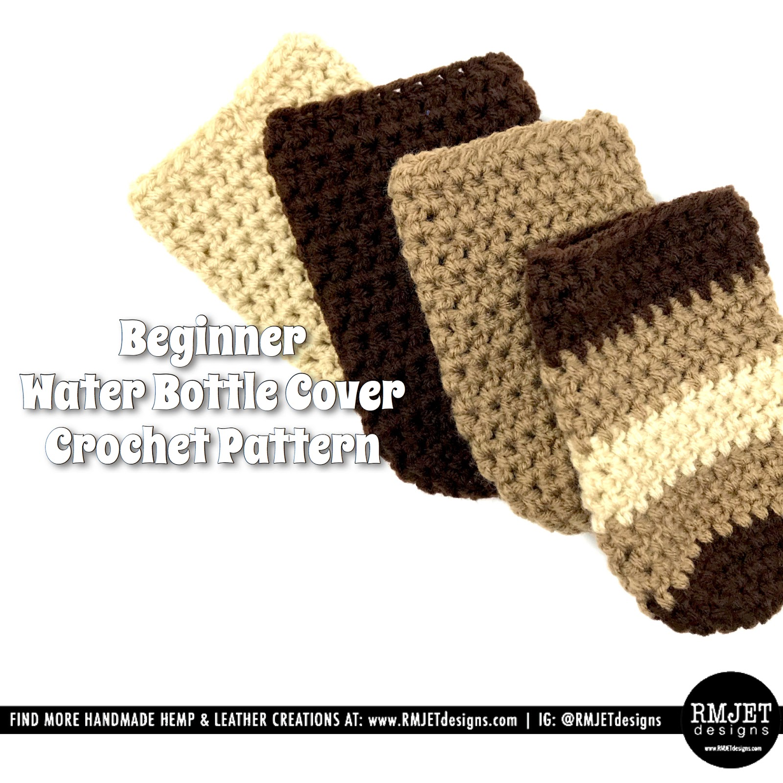 Free Water Bottle Cover Crochet Pattern by RMJETdesigns!