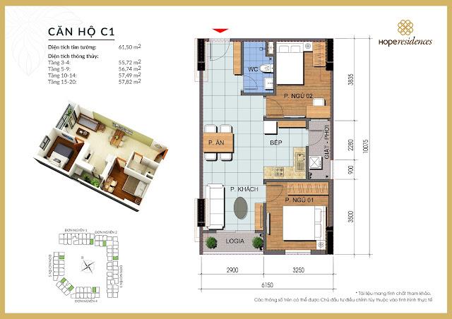 Mặt bằng thiết kế tòa Đơn Nguyên 5 Hope Residences Phúc Đồng
