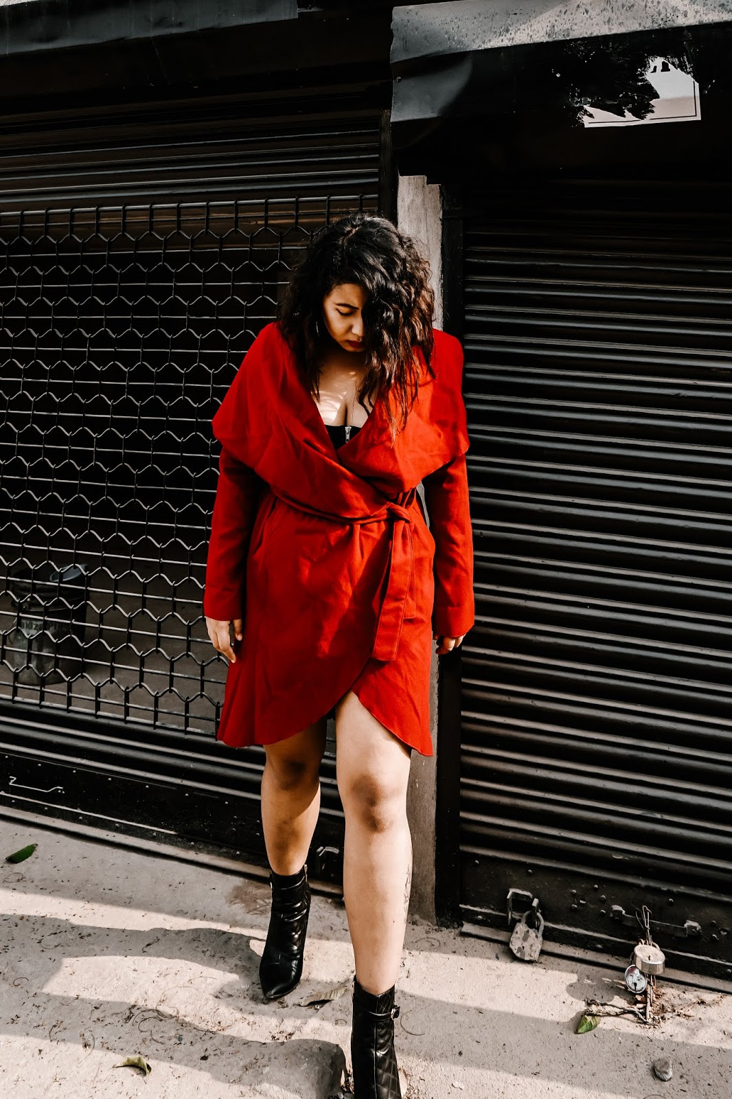 SelestyMe Indian fashion blog by Chayanika Rabha Fall look wearing Shein.in Red dress and  truffle collection point stiletto boot