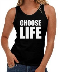 "1980s ""Choose Life"" Black Vest Top for Women"