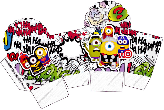 Caja para cupcakes o golosinas de Minions Super Héroes.