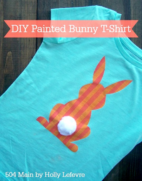 bunny, easter, t-shirt, fabric paint
