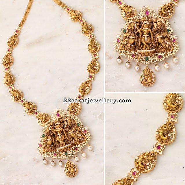 Nakshi Peacock Long Chain with Krishna Pendant