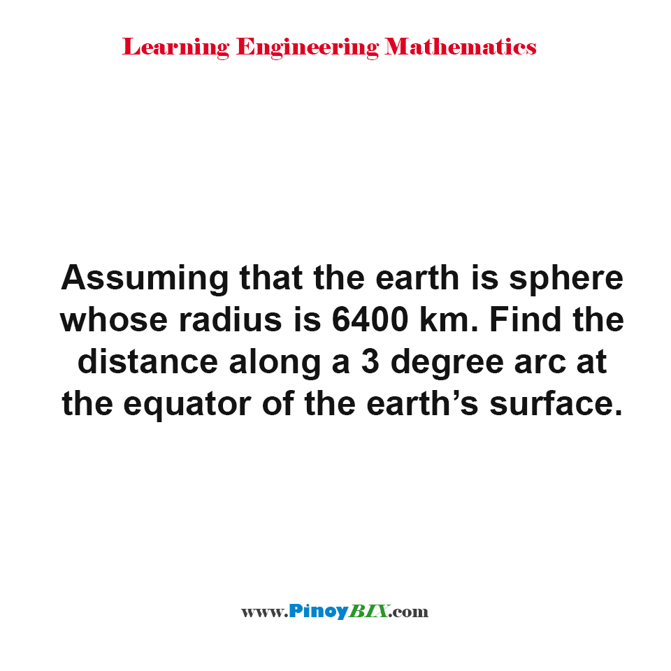 Find the distance along a 3 degree arc at the equator of the earth's surface