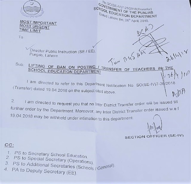 WITHHOLDING OF INTER DISTRICT TRANSFER OF TEACHERS
