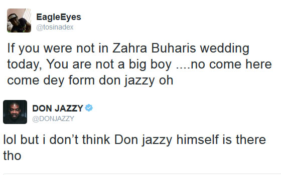 Don Jazzy throws subtle shade at follower over Zahra Buhari's wedding