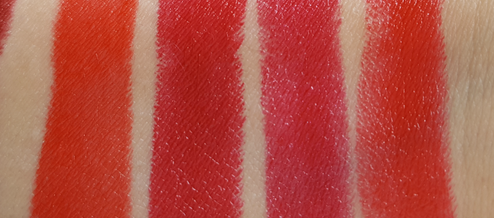 Swatches: AVON True Colour Perfect Reds Collection - Lipsticks - Poppy Love - Red 2000 - Berry Nice - Lava Love