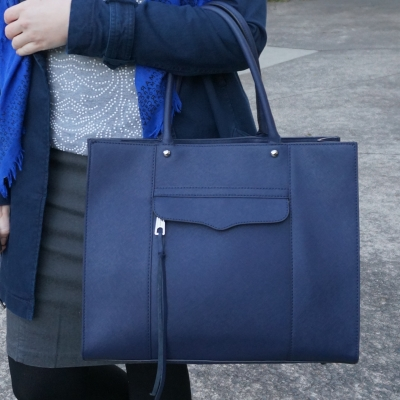 beaded jumper, pencil skirt Rebecca Minkoff medium MAB tote in moon navy | AwayFrom The Blue