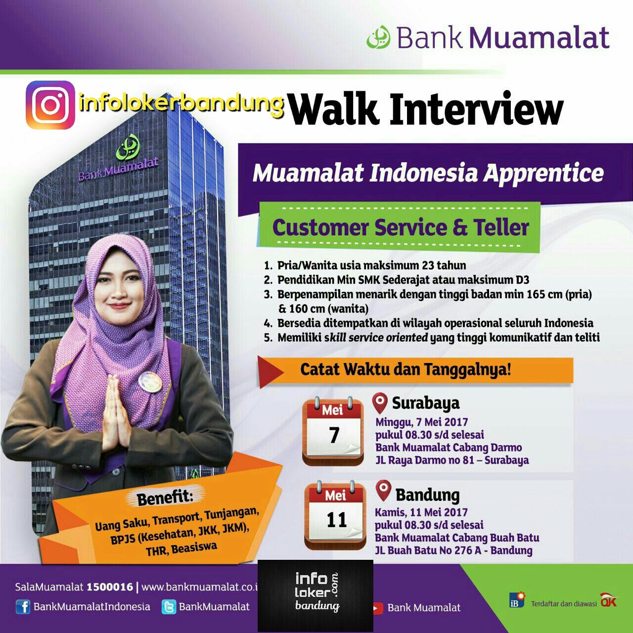 Lowongan Kerja Bank Muamalat Bandung ( Walk in Interview ) Mei 2017