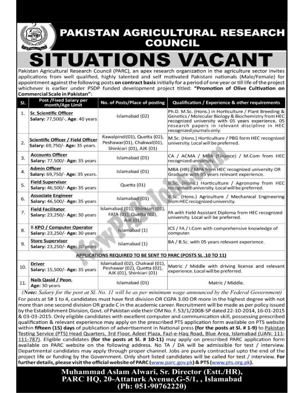 PTS Jobs in Pakistan Agriculture Research Council, Olive Cultivation March 2018