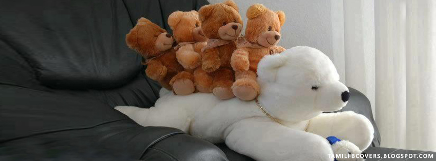My India Fb Covers White Teddy Bear And Four Small Teddies Cute