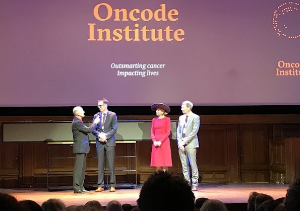 Queen Maxima of The Netherlands opened Oncode Institute at KIT Royal Tropical Institute in Amsterdam. Queen Maxima wore Natan dress
