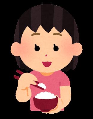 箸でご飯を食べる人のイラスト(女の子)