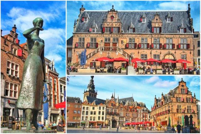 Escultura, Waag y otros edificios en Grote Markt de Nijmegen, Nimega