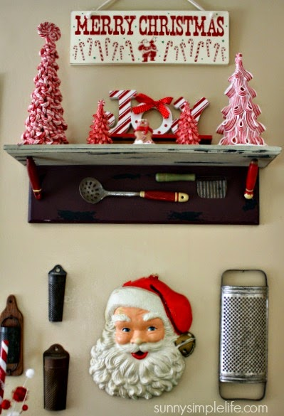 vintage santa face, vintage graters, candy cane decor