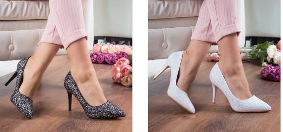Pantofi albi, negri cu toc eleganti din glitter la moda 2019