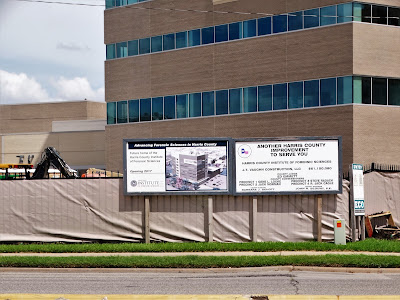 Project sign for new building to house the Harris County Institute of Forensic Sciences