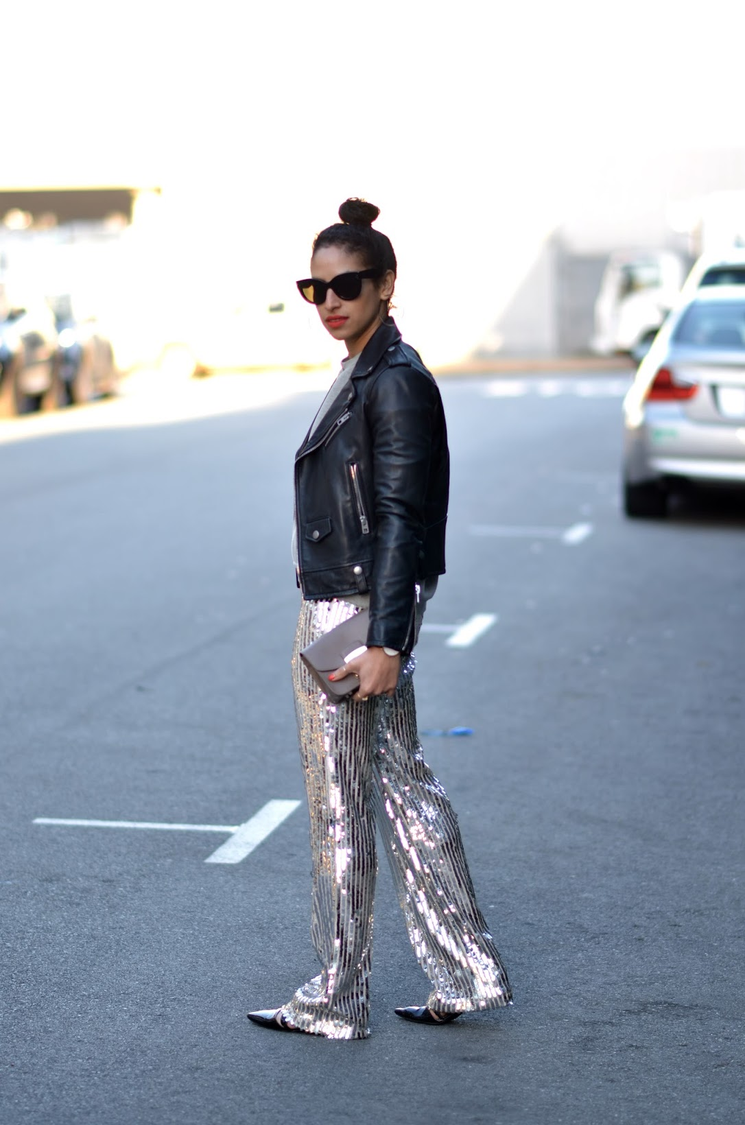 sequin pants, Shop the Harbingers, Cynthia Rowley leather sleeved sweatshiirt, bold pink lip, celine cat eye sunglasses