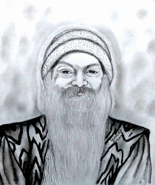 PENCIL DRAWING - OSHO RAJNEESH
