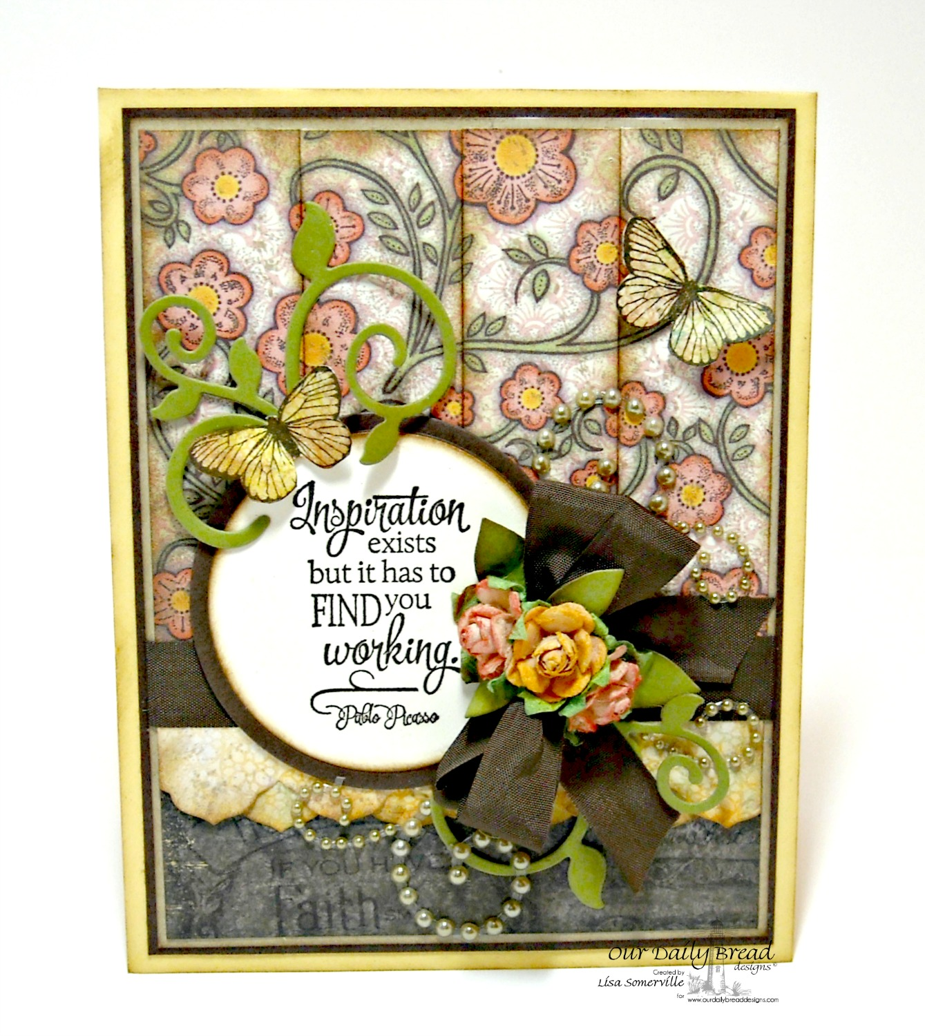 Stamps - ODBD Blooming Garden Paper Collection, ODBD Custom Fancy Foliage Die, ODBD Custom Antique Labels & Border Dies, Quote Collection 4, Stamped By - Butterfly Mini