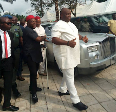Billionaire businessman Ifeanyi Ubah and his Rolls Royce spotted at a wedding in Anambra (photos)