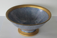 Blue Compote Bowl With Gold Rings