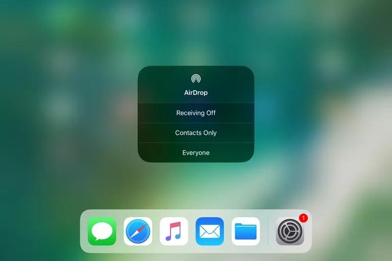 AirDrop di pusat kendali iOS 11