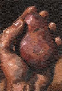 Oil painting of a Désirée potato held in a left hand.