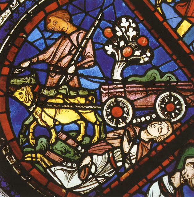 Cena com elementos do campo num vitral da catedral de Chartres