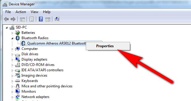 bluetooth device properties