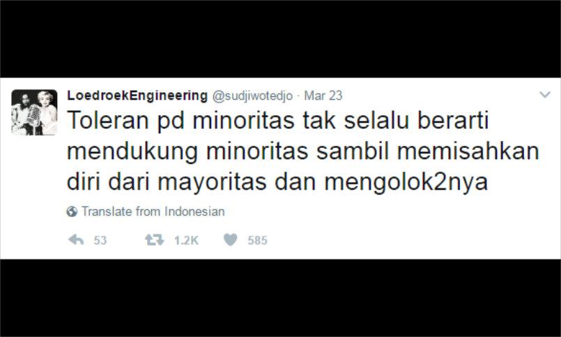 Sudjiwo Tedjo: Toleran Pada Minoritas Tak Berarti Mengolok-olok Mayoritas!