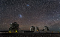 Large Magellanic Cloud Galaxy & Small Magellanic Cloud Galaxy seen over Auxiliary Telescopes of the VLT Array at ESO's Paranal Observatory