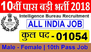 IB Recruitment 2018 - Apply Online for 1054 Security Asst / Executive Post