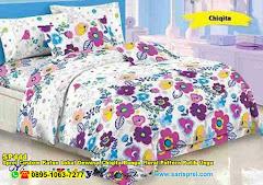 Sprei Custom Katun Lokal Dewasa Chiqita Bunga Floral Pattern Putih Ungu