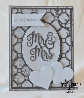 Our Daily Bread Designs Stamp Set: Happy Wedding Day, Paper Collection: Wedding Wishes, Custom Dies:Scalloped Chain, Mr & Mrs, Layering Hearts, Pierced Ovals, Ovals, Double Stitched Pennant Flags
